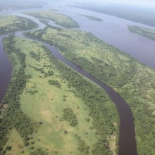 Aerial view of the Congo River near Kisangani